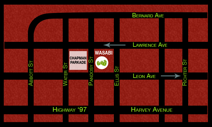 Location Map for Wasabi Ramen and Izakaya in Kelowna BC