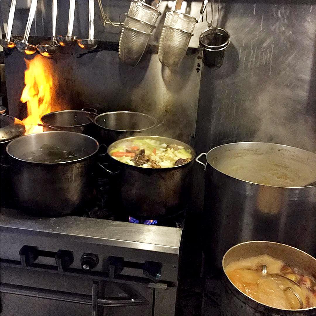 Busy kitchen at Wasabi Ramen in Kelowna