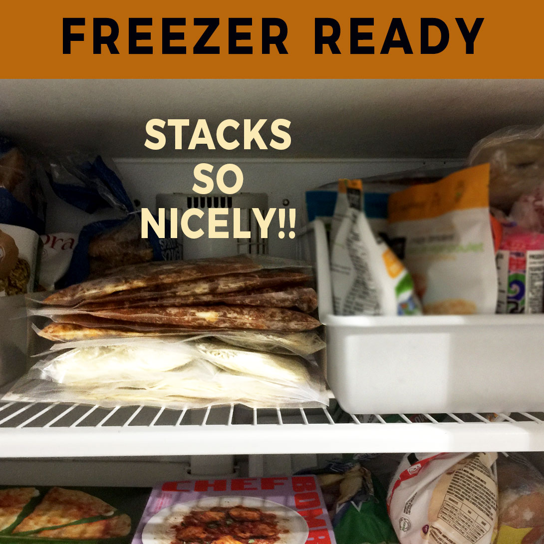 Ramen Kits stacked in the freezer